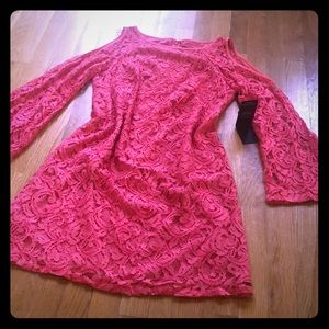 Adrianna Papell Pink Lace Dress NWT